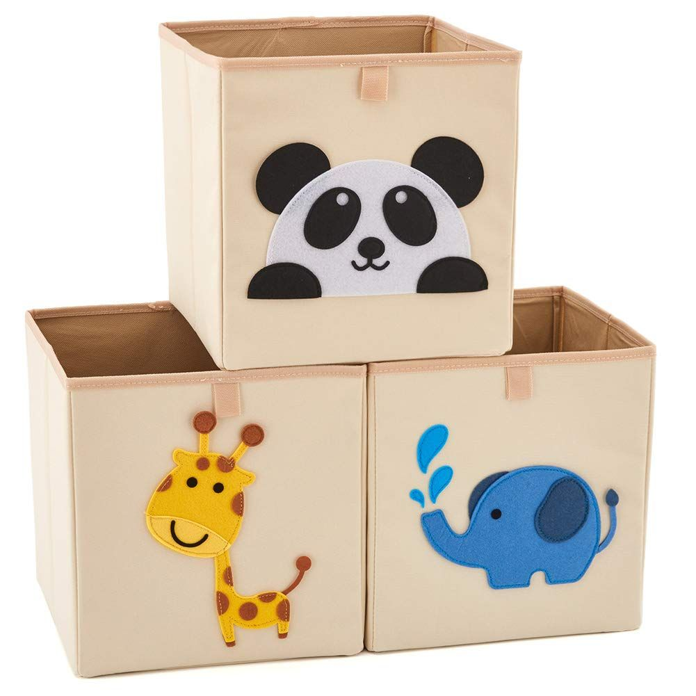 Ezoware Set Of 3 Foldable Fabric Basket Bin Collapsible Storage Cube For Nursery Home Kids And Toddlers Fabric Baskets Felted Storage Collapsible Storage Cubes
