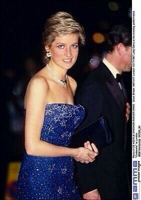 16 December 1987: Princess Diana attends a gala performance of Cinderella at the Royal Opera House in Covent Garden