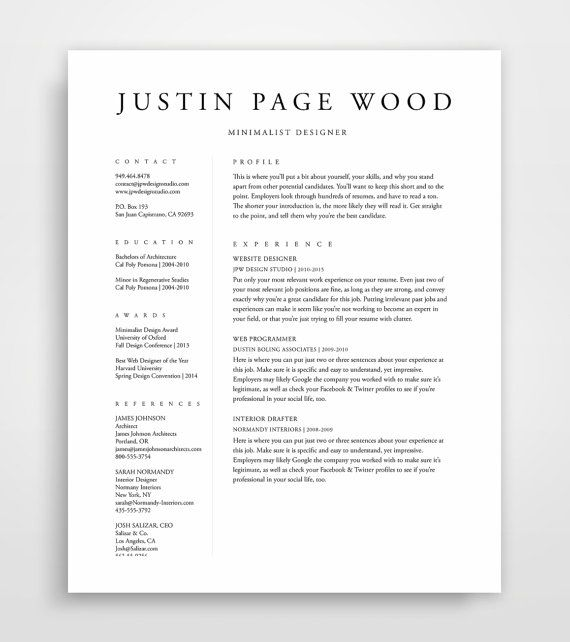 Resume Template Resume Professional Resume By JPWDesignStudio More  Resume Layout