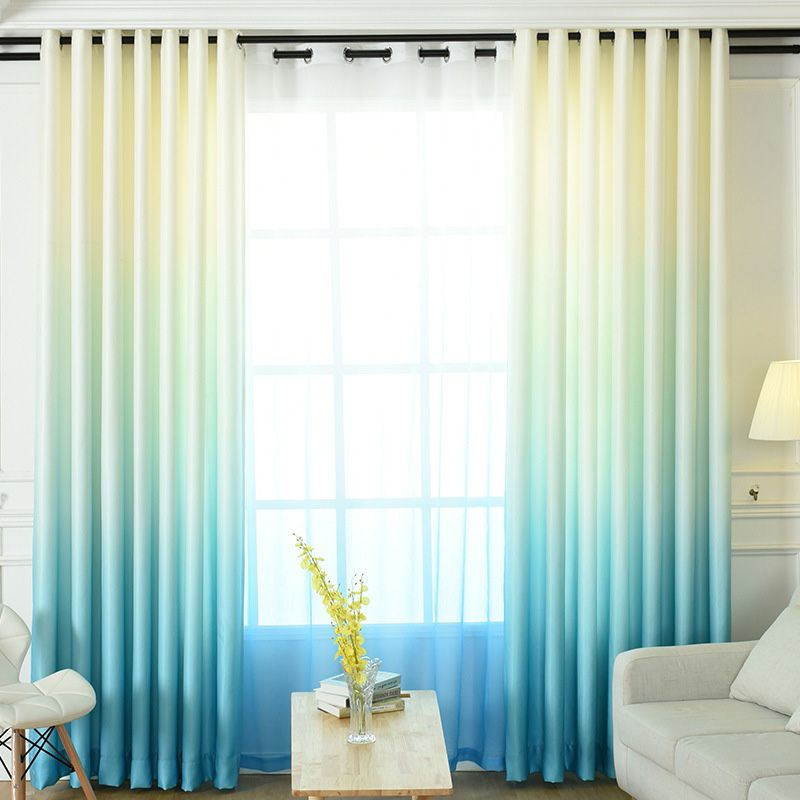 Living Room Aqua Turquoise Blue Ombre Curtains Two Tone Blackout images