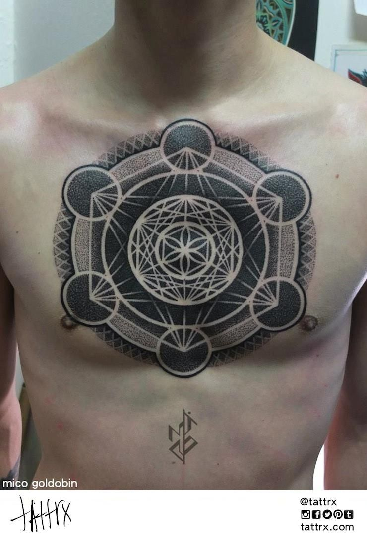 Mico Goldobin Tattoo   Tartu, Estonia - Metatron's Cube Chestpiece