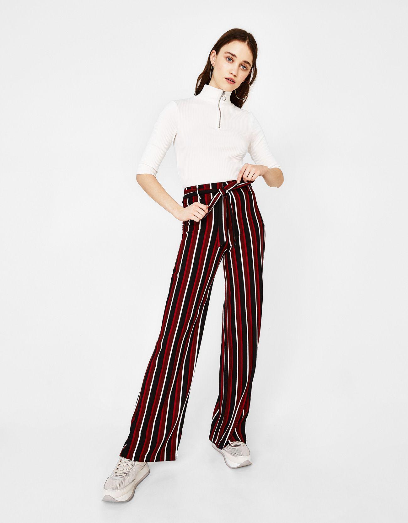 87d2441678 Pantalón ancho de rayas - Pantalones - Bershka España
