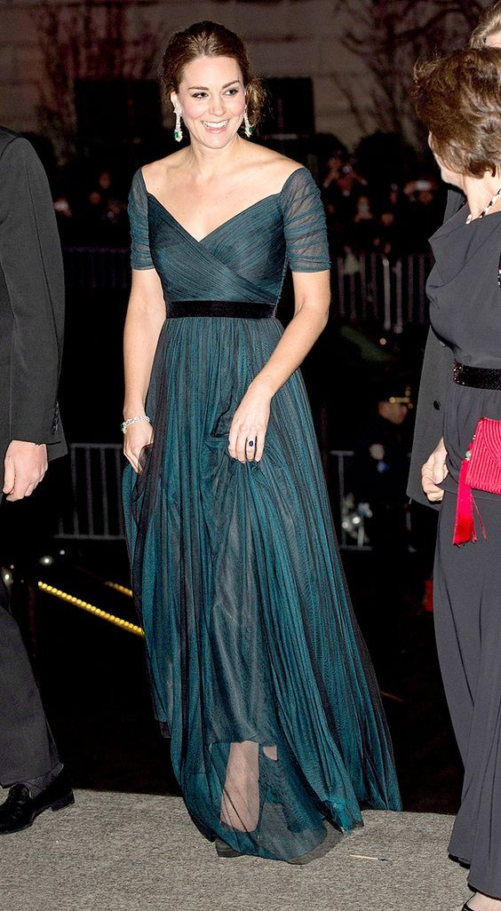 Inspired by Kate Middleton Celebrity Dresses Navy Blue A Line Chiffon Off the Shoulder Pleat Evening Prom Dress from MrTang