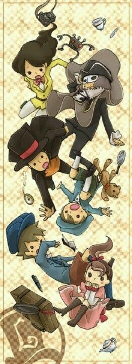 Professor Layton funny art. Emmy, Descole, Layton, Luke, Clive and flora! :D