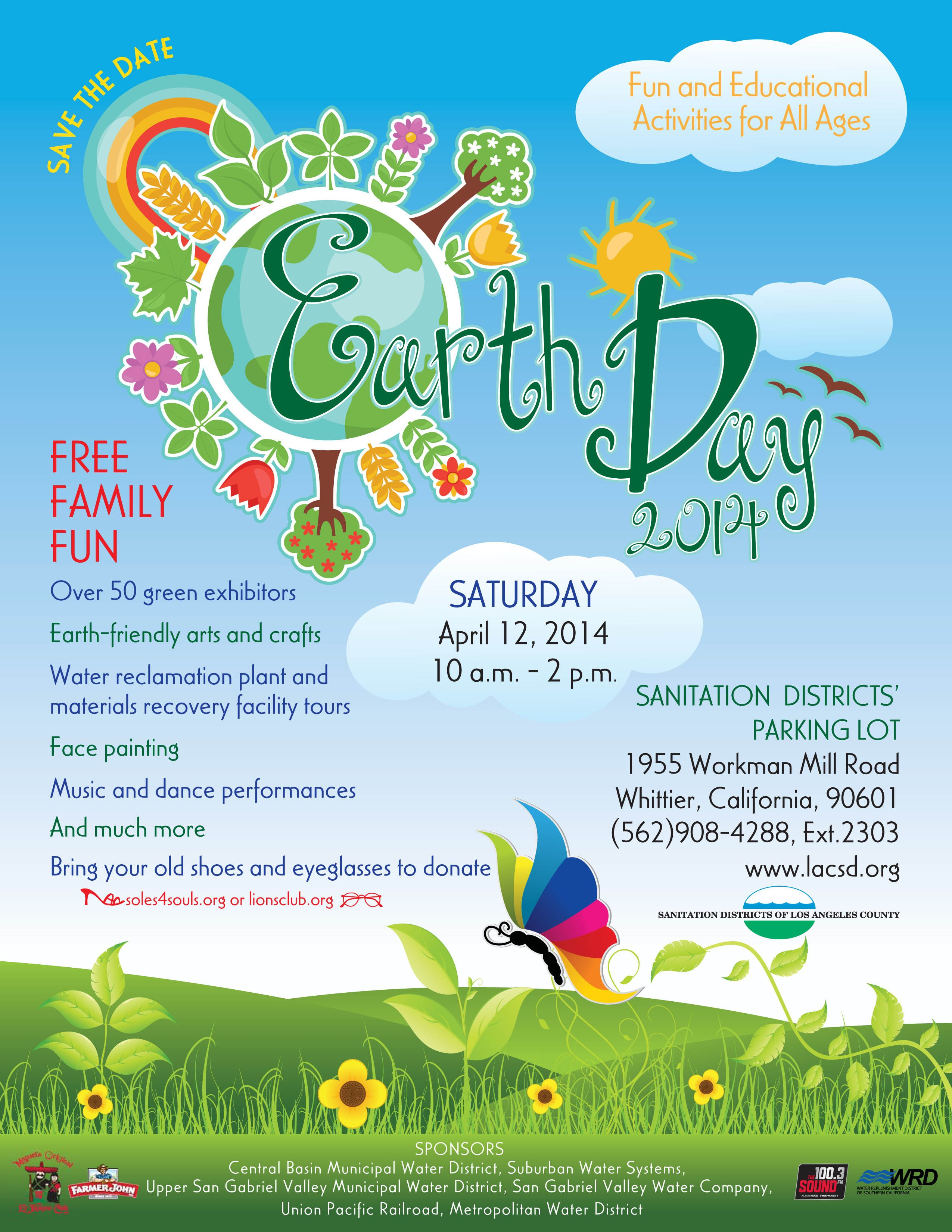 Celebrate Earth Day 2014 This Saturday April 12 From 10 Am 2 Pm With The Sanitation Districts Of La County Earth Day 2013 Earth Week Educational Activities
