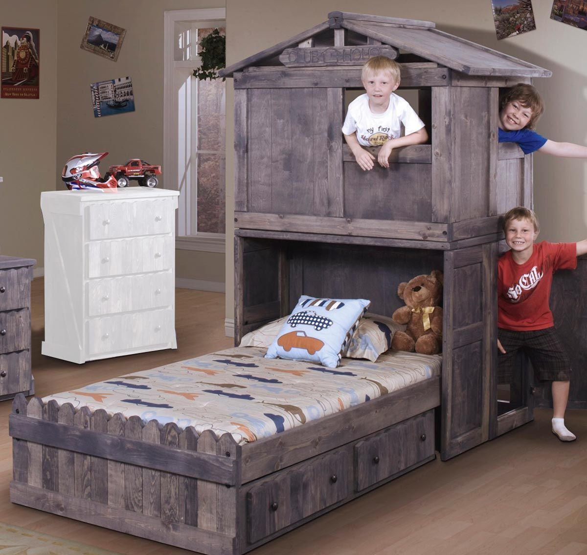 Chelsea Home 3514275 4276 Twin Bed With Club House And Storage Twin Platform Bed Kid Beds Platform Bedroom