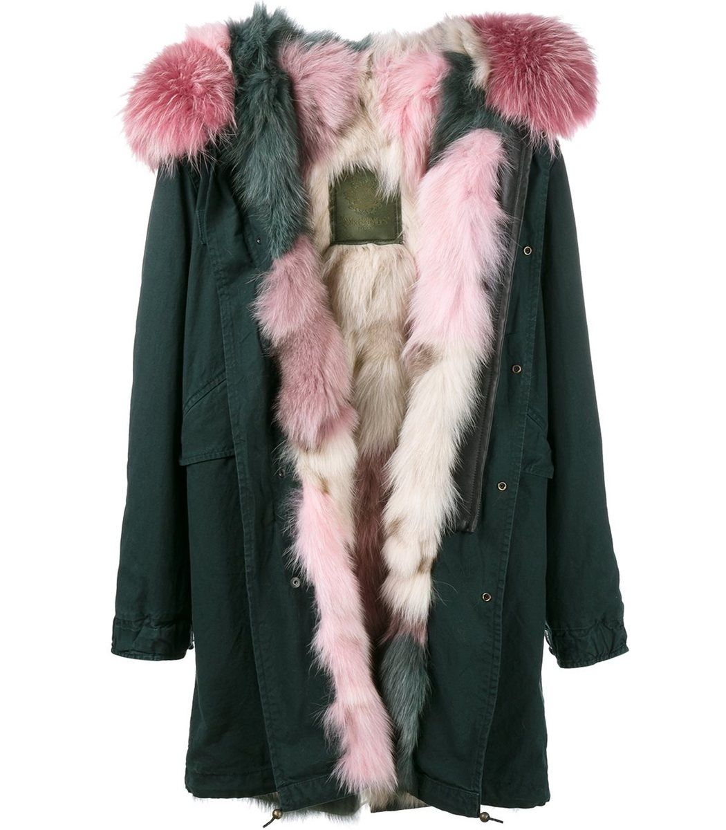 Mr & Mrs Italy Green & Pink Fur Parka - Green & Pink Fur Parka