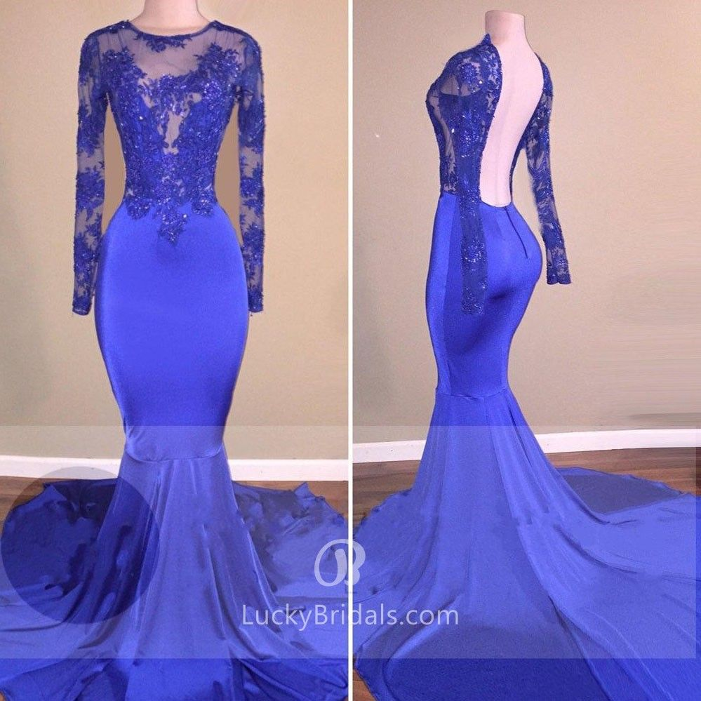 Royal blue lace and satin illusion long sleeve open back mermaid
