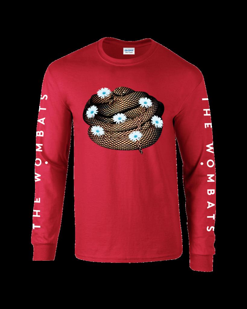 8eac4623dffdee The Wombats (Flower Snake) Red Long Sleeve Shirt
