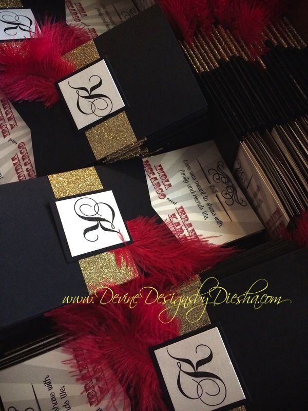 Circus themed wedding invitations (Great Gatsby inspired) Red, Black ...