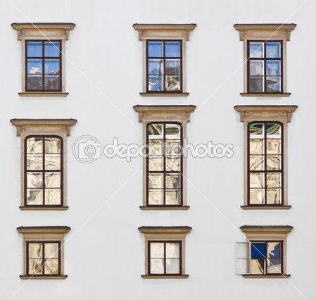 Old windows at Hofburg facade in vienna