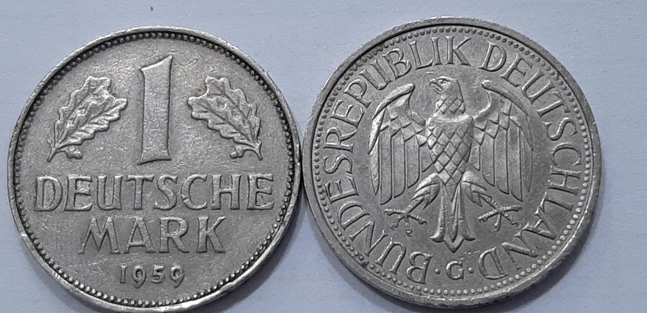 One Deutsche mark Bundesrepublik Deutschland G+F 1959(Face