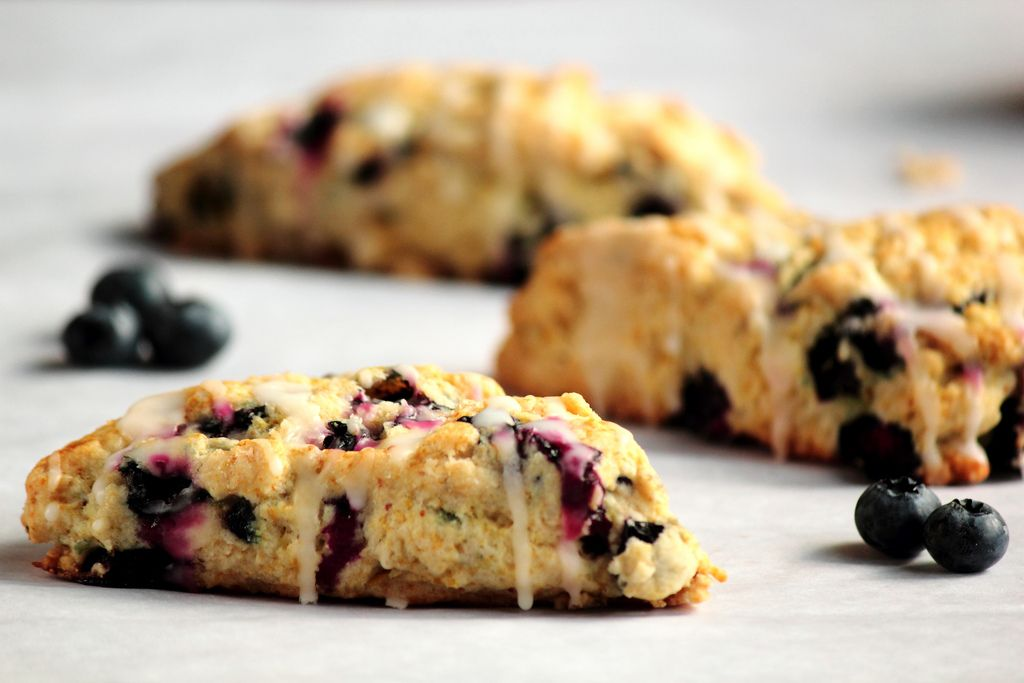 Lemon Blueberry Scones ~ Made for Bridesmaids Brunch.  Delicious!!  Easy to prepare and turned out fabulous!  (I cut into 12 peices instead of 8 to make them go a bit further. Still baked for reccomended time.) I'll be making these again and again!