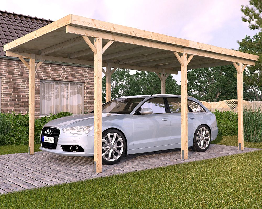 Freestanding solid wood carport flat roof kvh 3000x5000mm for Timber carport plans
