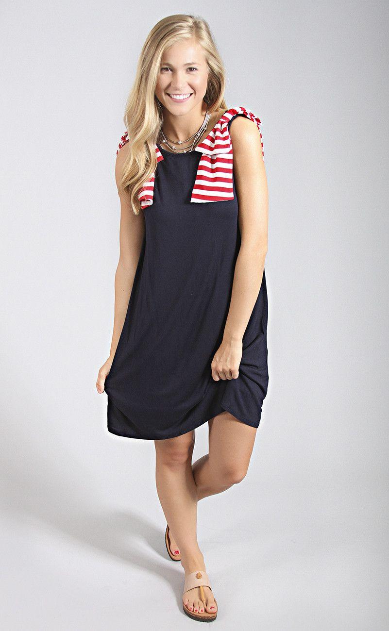 lady liberty bow dress - navy
