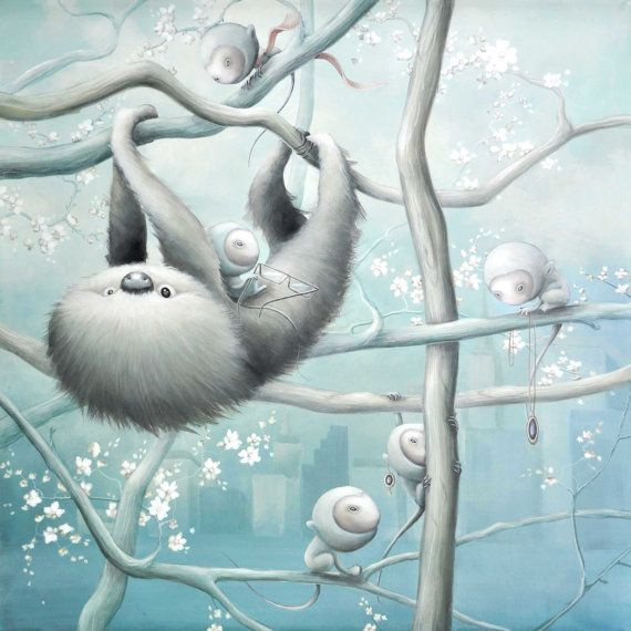 Limited edition Giclee print Sloth in the city A3 by angelshaug, $121.00