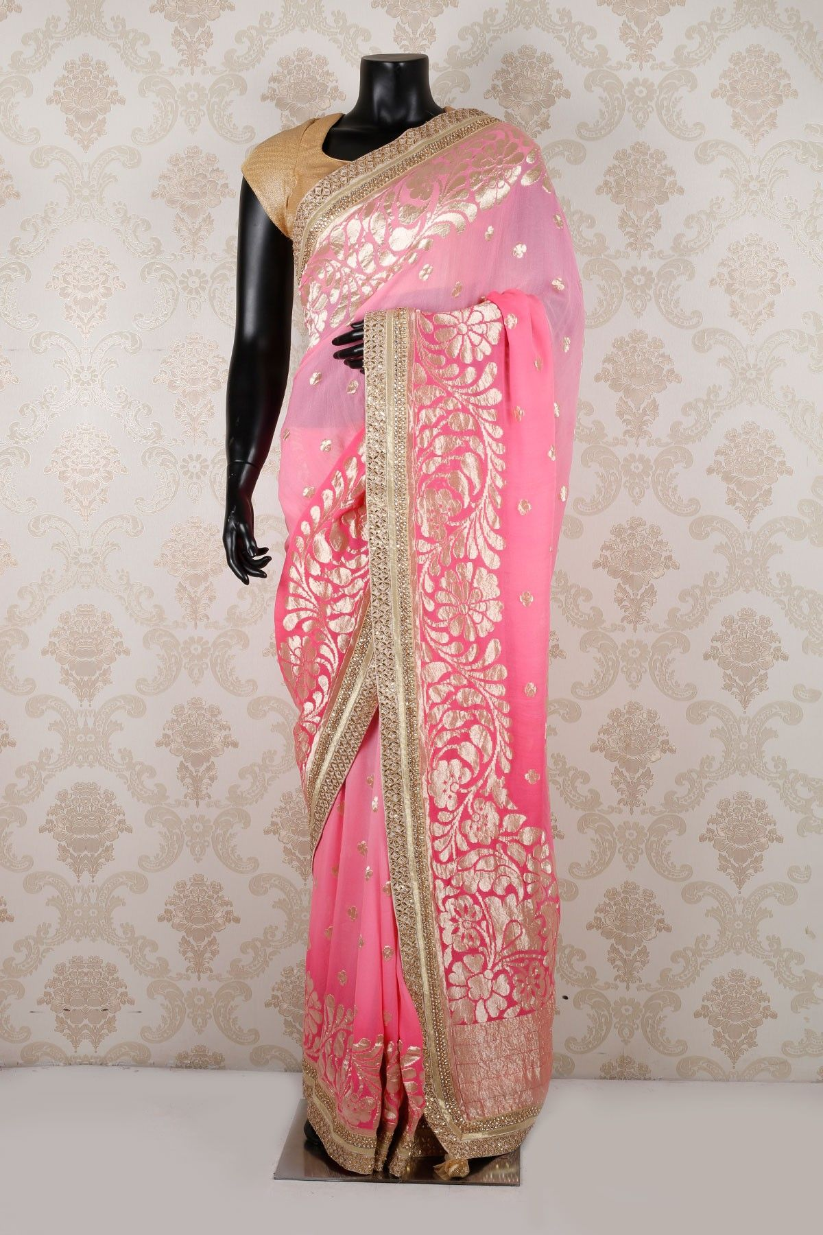4476a3f4f6 Light #pink & baby pink pure banarasi georgette angelic #saree with light  #gold border-SR12769