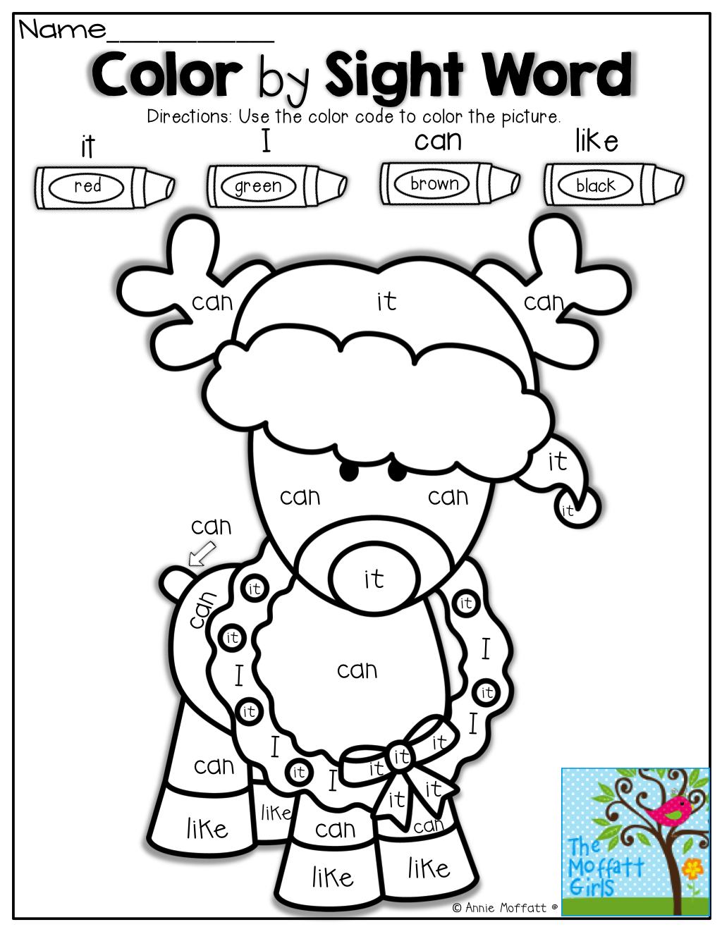 Workbooks holiday worksheets for kindergarten : Color by SIGHT WORD and tons of other great printables! | Child ...