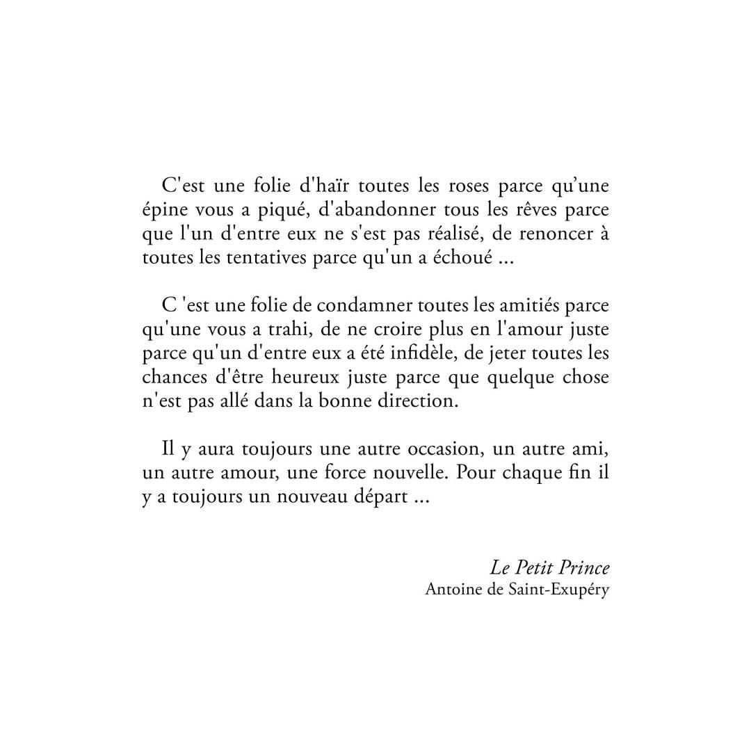 Pour chaque fin il y a un nouveau départ ... le Petit Prince ...