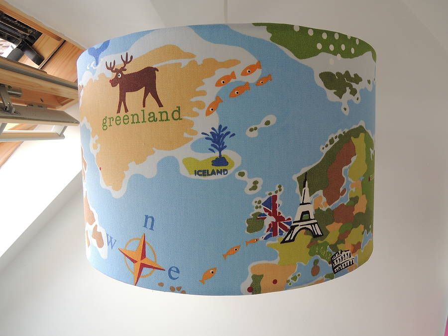 Fun Handmade World Map Lampshade Shabby Room And Kids Rooms - World map for boys room
