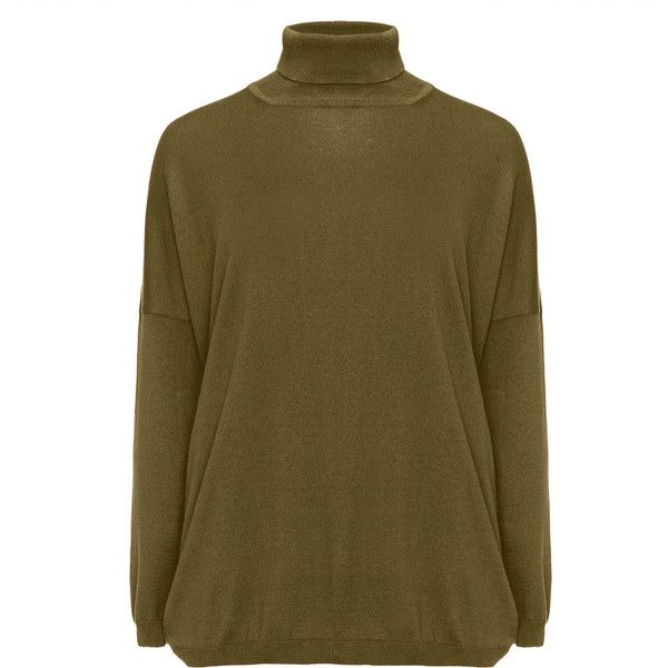 7e8d408c69 Amber and Vanilla Khaki-Green Plus Size Cashmere and cotton roll neck.