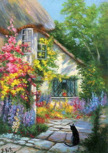 English Cottage Flower Garden Cat Landscape Breanski Original Aceo Painting Art Winning Bid US 5200 Approximately AU 6611