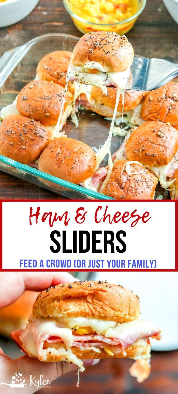These EASY hot Ham Cheese Sliders are PERFECT for game day. Make a double batch to feed a crowd! #sliders #crowdfood #gameday #easyrecipe #appetizer #gamedayfood
