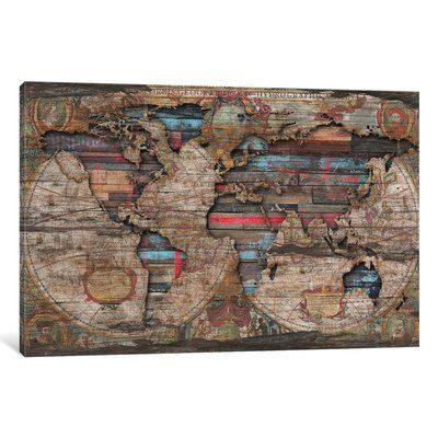 East urban home distressed world map graphic art print on canvas east urban home distressed world map graphic art print on canvas size 12 gumiabroncs Image collections