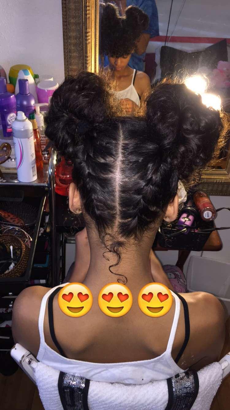 Two braids into fun buns
