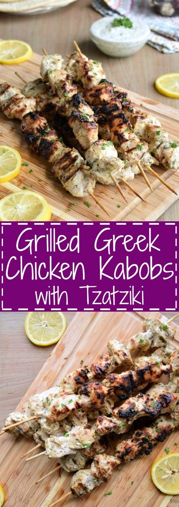 Grilled Greek Chicken Kabobs with Tzatziki | The Schmidty Wife #chickenkabobmarinade
