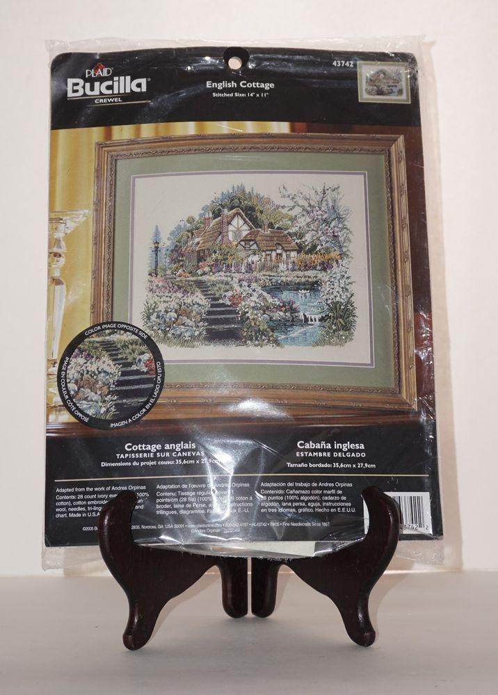 "Bucilla Plaid NEW English Cottage Flower 14"" x 11"" Picture Crewel Embroidery Kit #Bucilla"