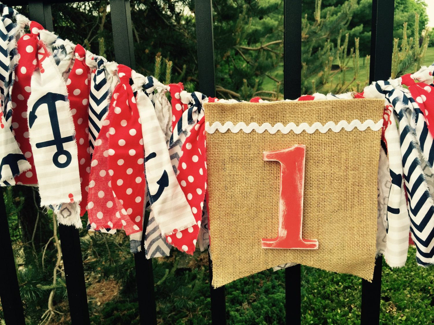 Nautical birthday fabric banner garland high chair bunting by Pattycakespapers on Etsy