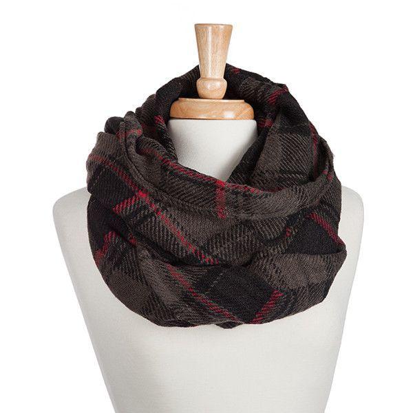 Heavyweight gray, black, and red tartan plaid infinity scarf.