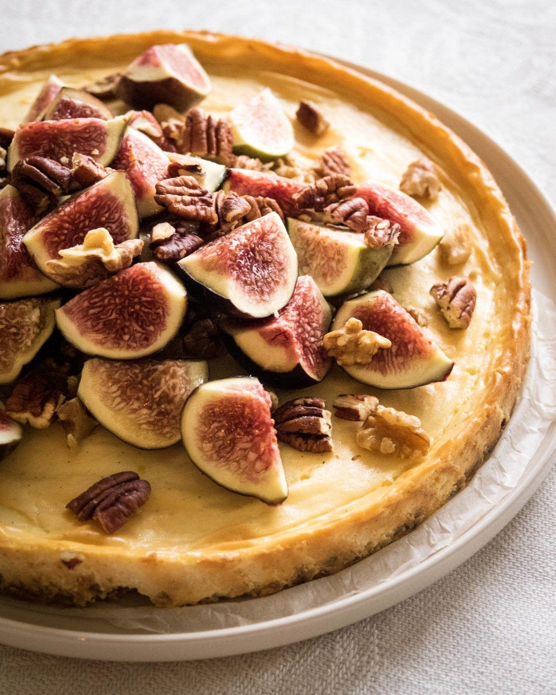 Paistettu viikunajuustokakku, fig cheesecake