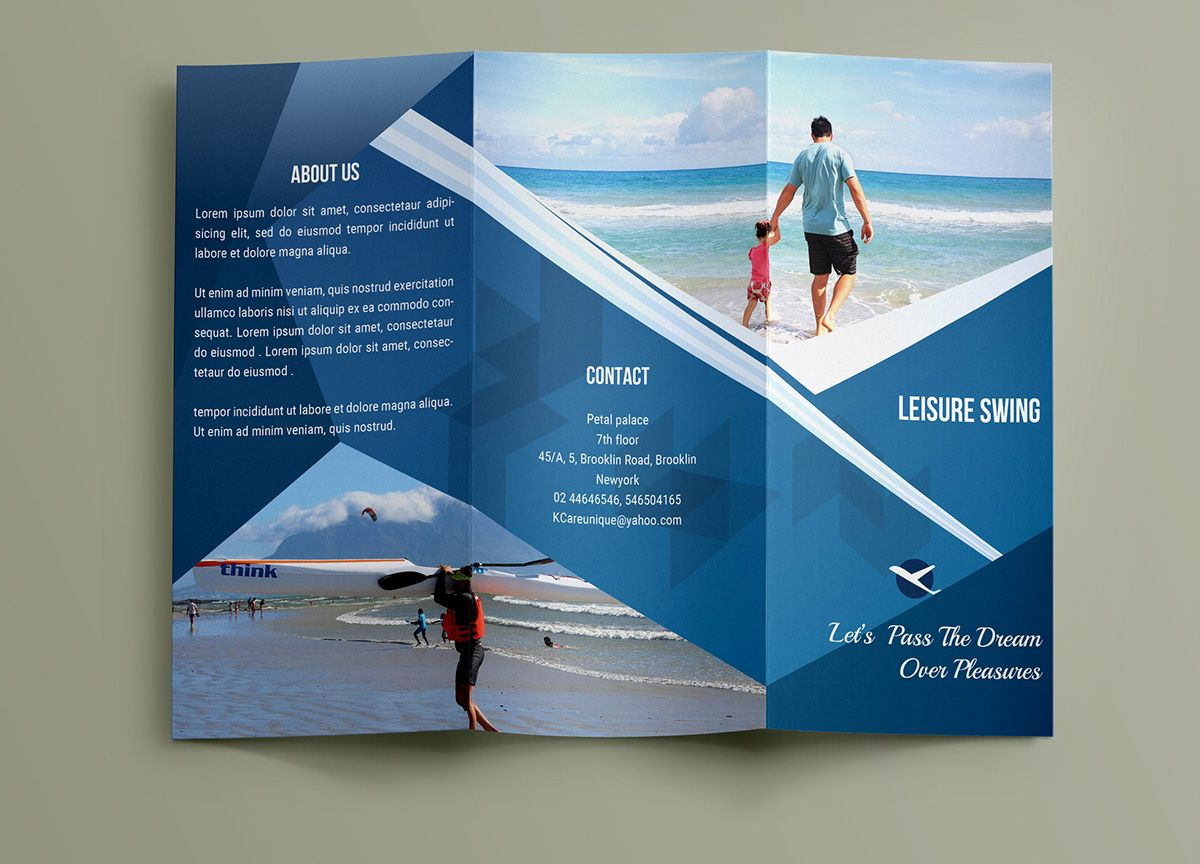 Free Travelling Trifold Brochure Template On Behance Trifold - 3 fold brochure template free