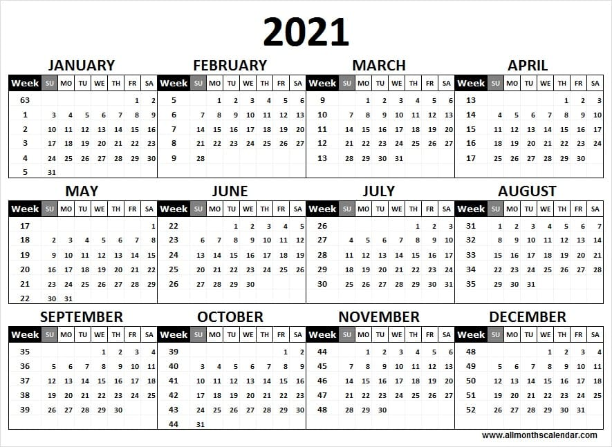 Calendar 2021 Week Wise Full Year Calendar 2021 Year In 2021 Calendar Print Calendar Full Year Calendar
