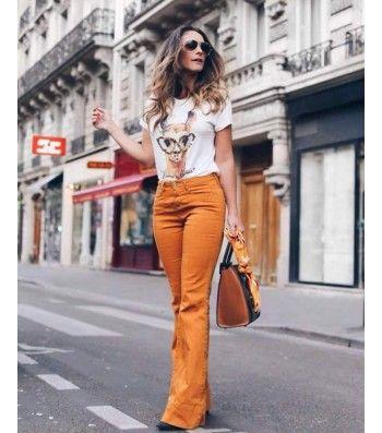 d7dfcd414 Calça Maxi Flare Tons Terra/Caramelo … | la moda es vida 2 | Flare…