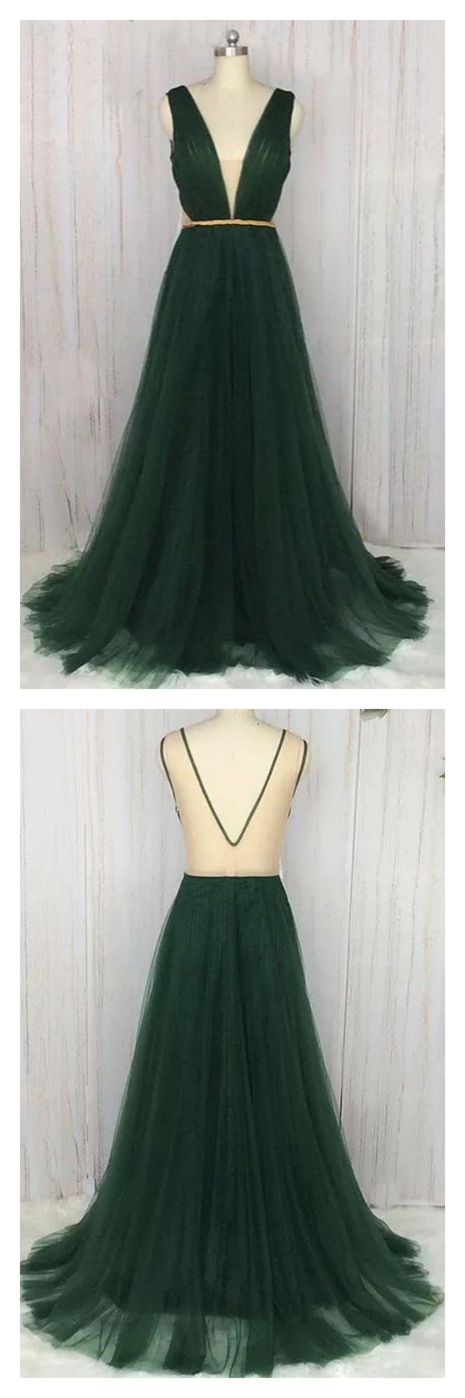 A line vneck dark green long tulle prom dresses ed teen