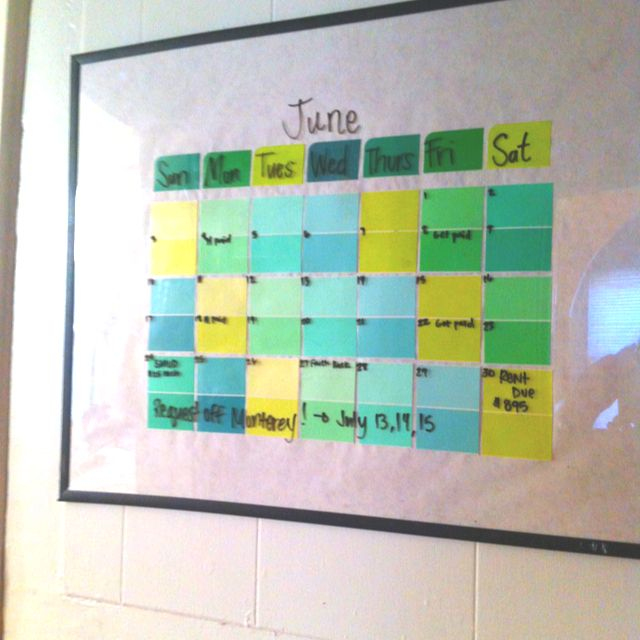 Dry erase calendar out of a frame and paint sample cards - sample cards