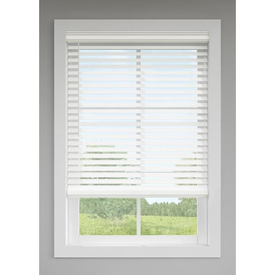 Levolor 2 5 In Cordless White Faux Wood Blinds Common 35 In