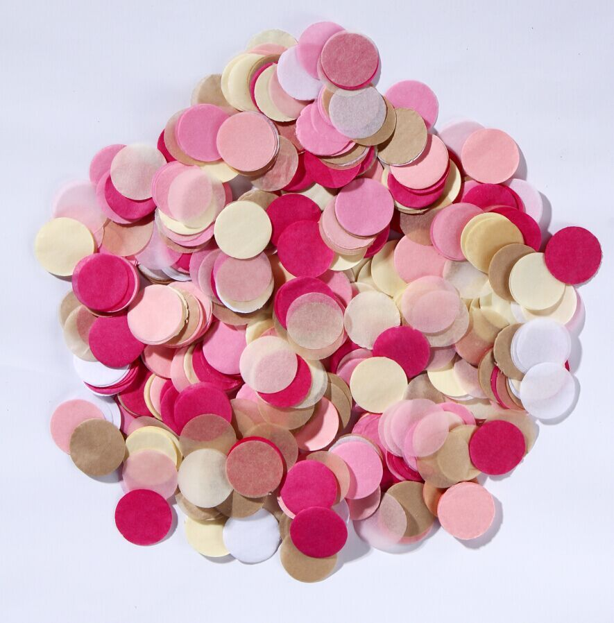 25mm Pink ,lavender & Ivor Paper Circle Biodegradable Wedding ...