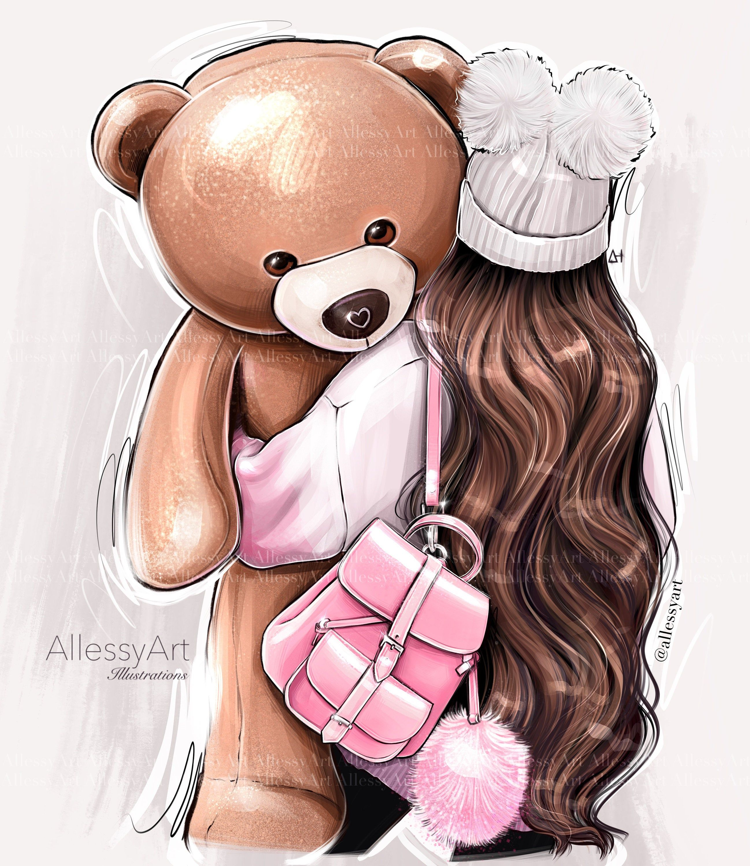 Photo of Instant download fashion illustration artwork teddy bear brunette girl