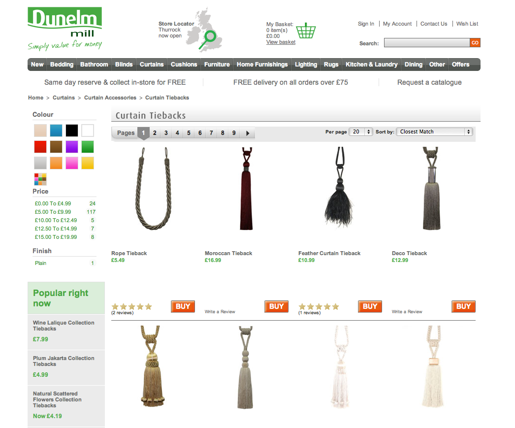 Dunelm Mill supplies a range of quality curtain tie backs suitable for a modern or traditional home.