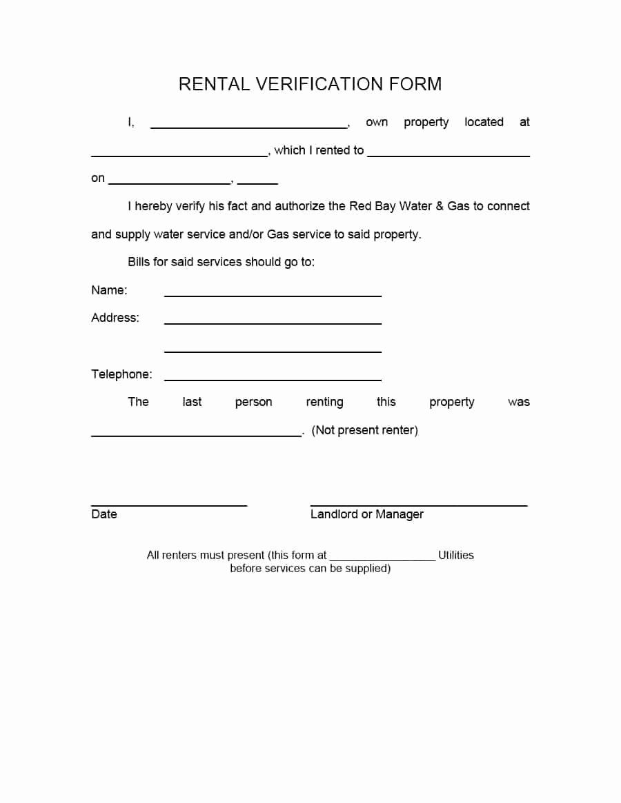 Landlord Verification Form Template New 29 Rental Verification Forms For Landlord Or Tenant Being A Landlord Templates Lettering Proof of rental history letter