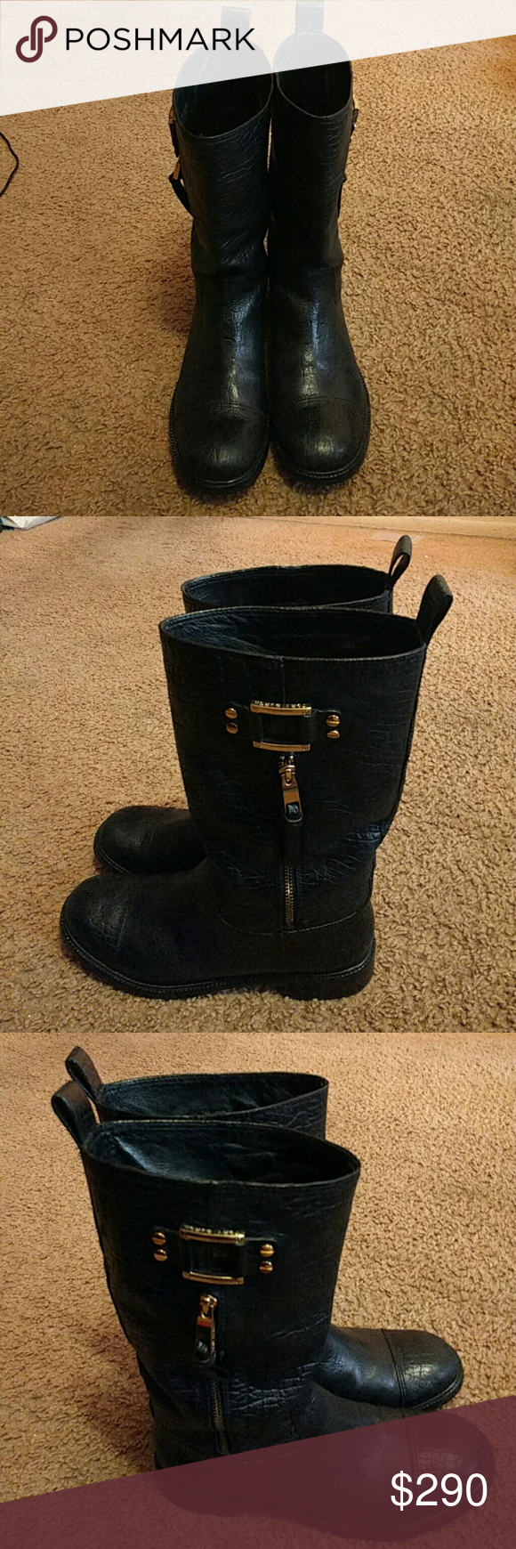 08102ffc1b7 Tory Burch Stowe moto black gold boots 10.5 EUC I bought these Tory Burch  motorcycle boots (Stowe) but unfortunately I m more of a 9.5 than a 10.5 -  I ...