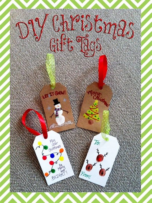 Diy Craft Ideas For Christmas Gifts Part - 42: Christmas Fingerprint Gift Tag Craft For Kids