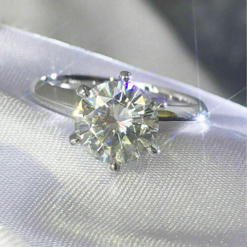 3Ct Round Cut Moissanite Diamond Engagement Ring 14K Solid White Gold Plated