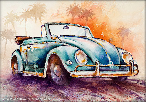 California Convertible- Vintage VW Bug Watercolor Art Print. Classic Car. 50's Beetle Painting. Blue. Orange. Drop Top Car. Palm Trees.