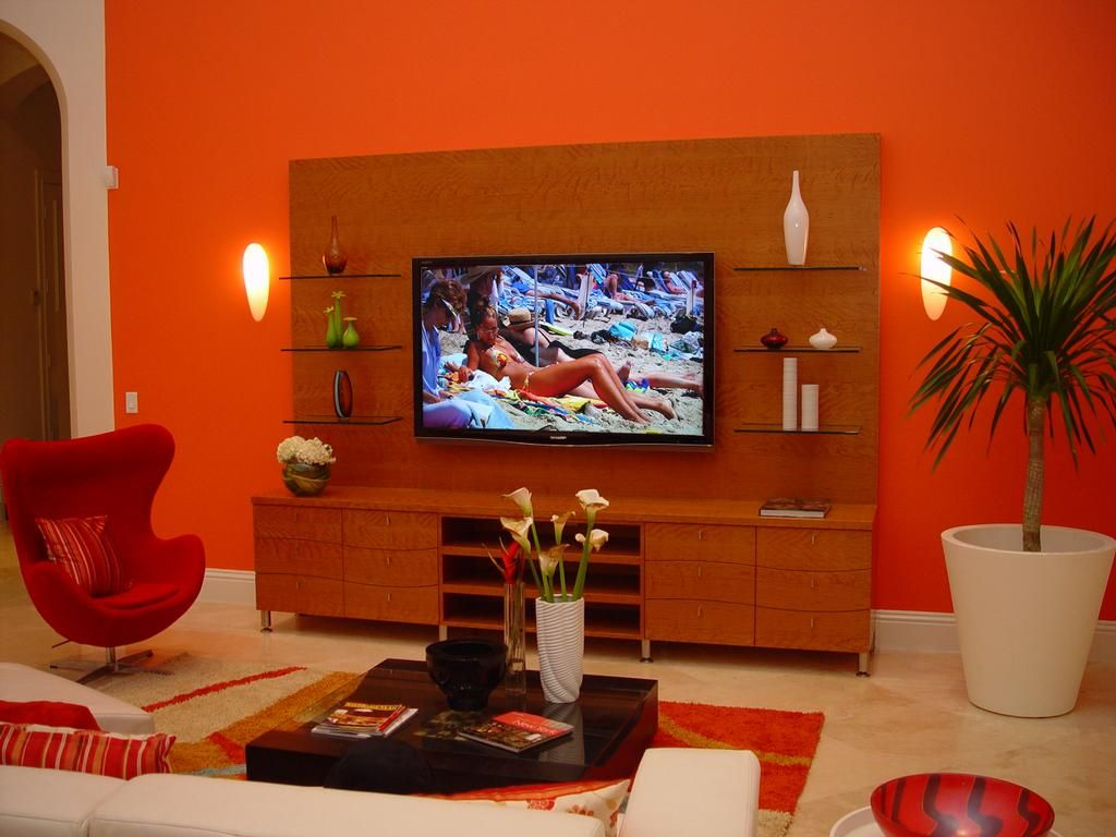 burnt orange and brown living room – modern house