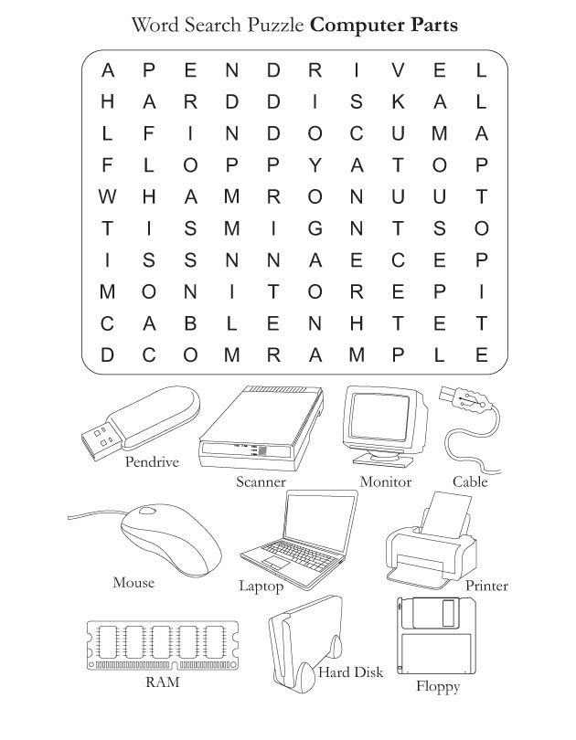 parts of the computer worksheets computer parts download free word search puzzle computer. Black Bedroom Furniture Sets. Home Design Ideas